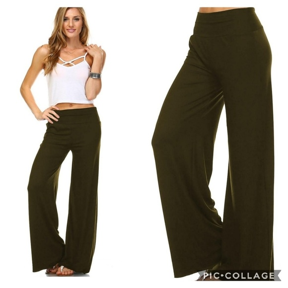 NEW Olive Reg and Plus Size Wide Leg Palazzo Pants Boutique